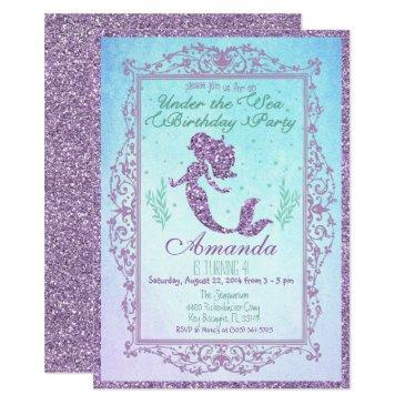 mermaid pool party under the sea birthday invitations