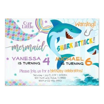 Small Mermaid Shark Birthday Party Invitations Siblings Front View