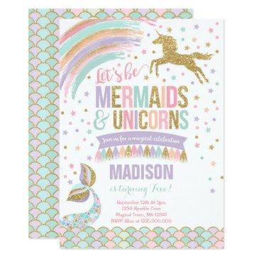 mermaid & unicorn birthday invitations magic party