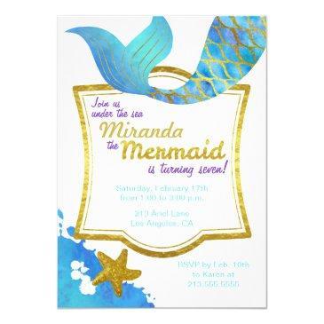 mermaid watercolor gold birthday invitation