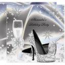 metallic look silver champagne high heels birthday invitation