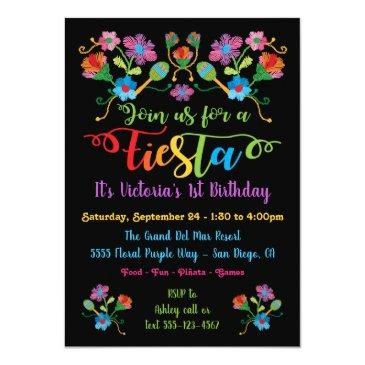 Small Mexican Fiesta Birthday Party With Embroidery Invitations Front View