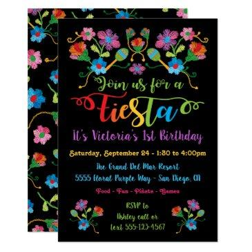 mexican fiesta birthday party with embroidery invitations