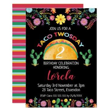 mexican taco twosday 2nd birthday invitations