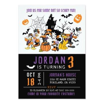 Small Mickey & Friends Halloween Birthday Invitation Front View