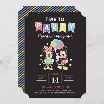 mickey & minnie | time to party invitation