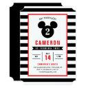 mickey mouse | icon black & white striped birthday invitations