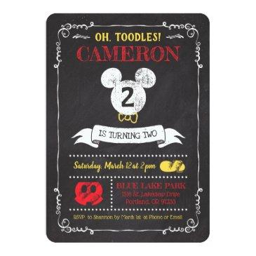 Small Mickey Mouse Icon Chalkboard Invitations Front View