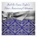 midnight blue silver damask 25th anniversary party invitation