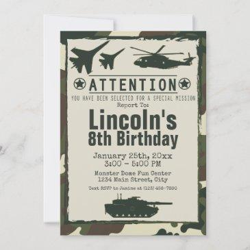 military camouflage birthday party army invite