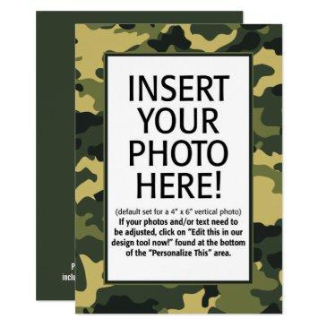 military camouflage birthday with photo invitation