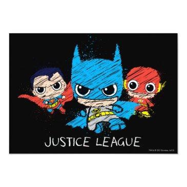 mini justice league sketch invitations