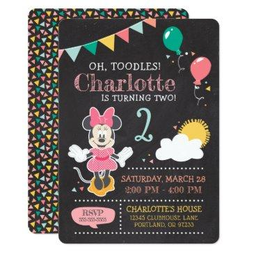 minnie mouse birthday chalkboard invitations