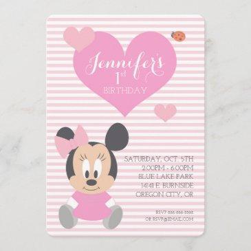 minnie mouse | first birthday invitation