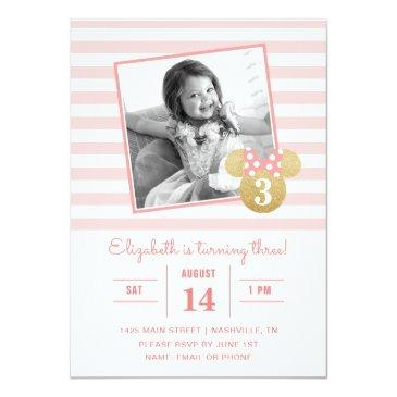 Small Minnie Mouse | Gold & Pink Striped Photo Birthday Invitations Front View