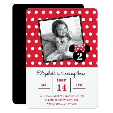 minnie mouse | red & white dots photo birthday invitations
