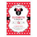minnie mouse   red & white polka dot birthday magnetic invitation