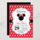 minnie mouse | red & white polka dot quinceañera invitation