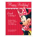 minnie red and white birthday invitations