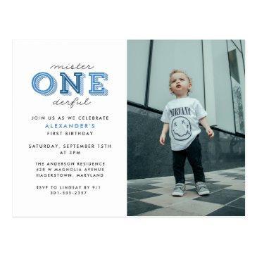 mister onederful 1st birthday photo invitation postinvitations