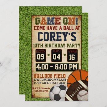 mixed sports birthday party invitation