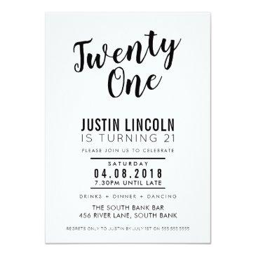 Small Modern 21st Birthday Party Invite Plain Black Front View
