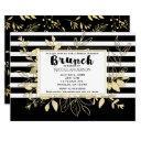 modern black gold botanical glamour bridal brunch invitation
