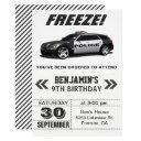 modern black police car birthday party invitations
