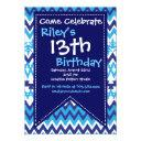 modern blue chevron birthday party invitations