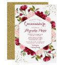 modern blush burgundy floral quinceanera invitations