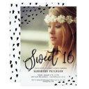 modern boho sweet 16 painted photo polka dots invitations