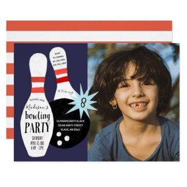 modern bowling blue & red birthday party invitations