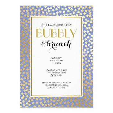 modern confetti polka dots lavender gold party invitations