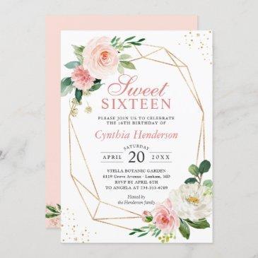 modern elegance blush pink floral sweet sixteen 16 invitation