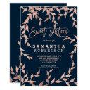 modern fall rose gold branch navy sweet 16 invitation