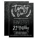 modern faux black glitter typography 21st birthday invitation