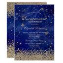 modern faux gold diamonds stars blue quinceañera invitation