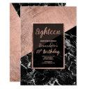 modern faux rose gold black marble 18th birthday invitation