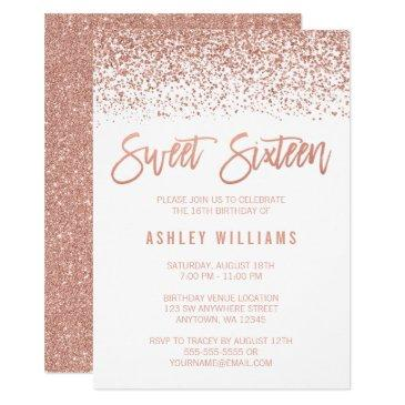 modern faux rose gold glitter sweet 16 birthday invitation