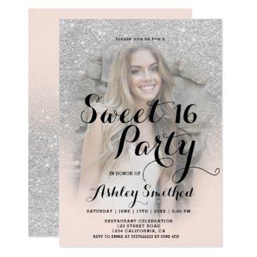 modern faux silver glitter blush photo sweet 16 invitation