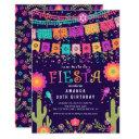 modern fun let's fiesta birthday party invitations