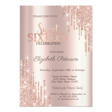 Small Modern Glitter Drips Rose Gold Sweet 16 Invitation Front View