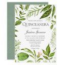 modern greenery summer spring quinceanera invite