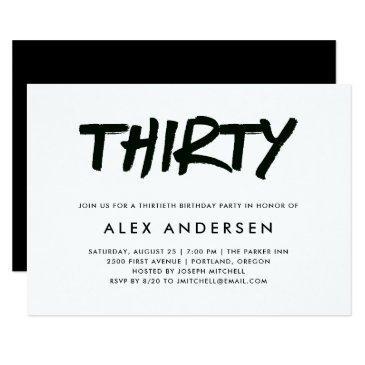 modern marker | black and white thirtieth birthday invitation