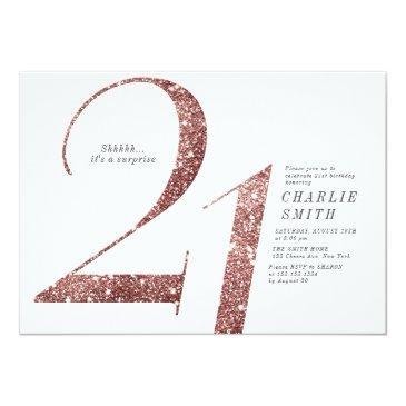 Small Modern Minimalist Rose Gold Glitter 21st Birthday Invitation Front View