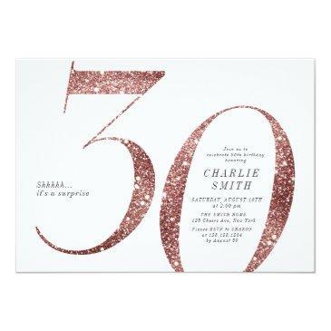 modern minimalist rose gold glitter 30th birthday invitation