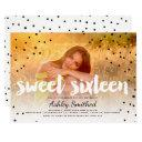 modern polka dots boho photo typography sweet 16 invitation