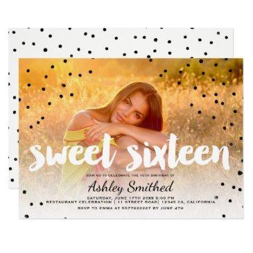 modern polka dots boho photo typography sweet 16 invitation