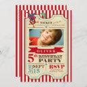 modern red circus ticket   birthday invitation
