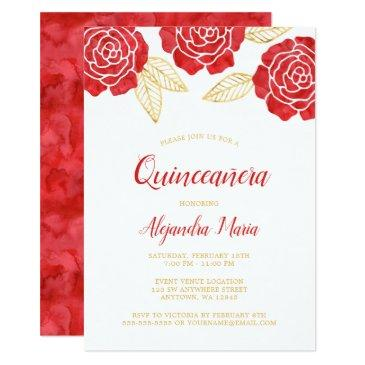 modern red gold roses quinceanera invitations